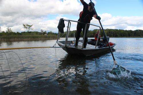 boat electrofishing netting