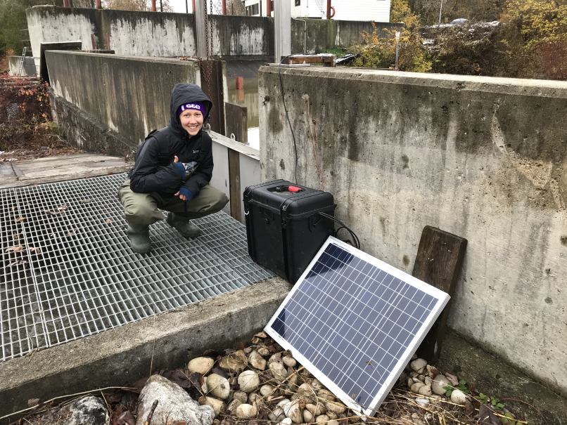 mobile fish monitoring station installed